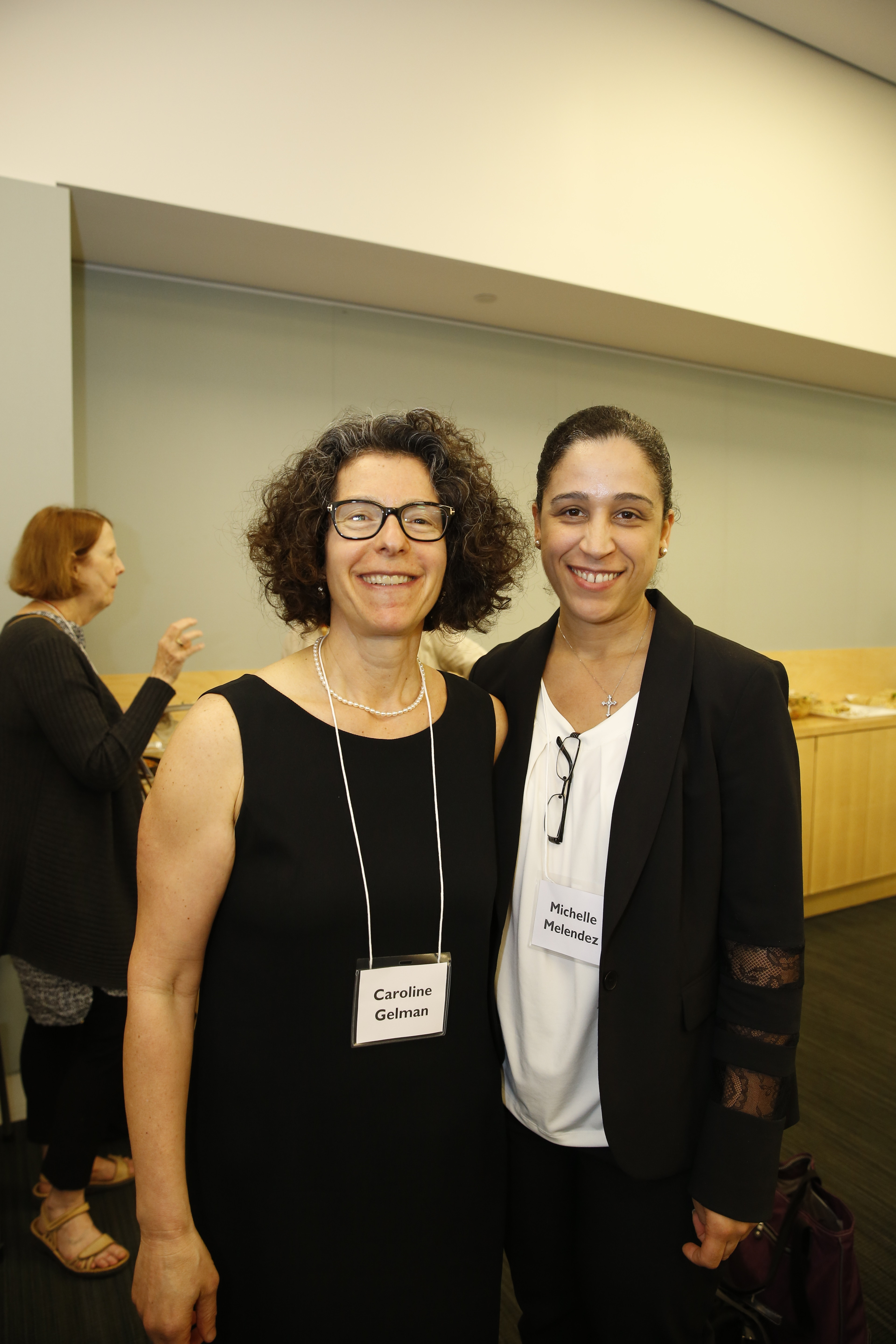Dr. Caroline Gelman, Conference Co-Director and Director of Education, Training, and Lifelong Learning at Silberman Aging, with presenter Michelle Melendez.