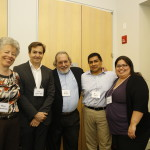"Presenters on ""An Academic-Community Partnership Supporting Dementia Caregivers"": Drs. Mary Mittelman, José Luchsinger, and Louis Burgio with Dante Tipiani and Carolina Hoyos."